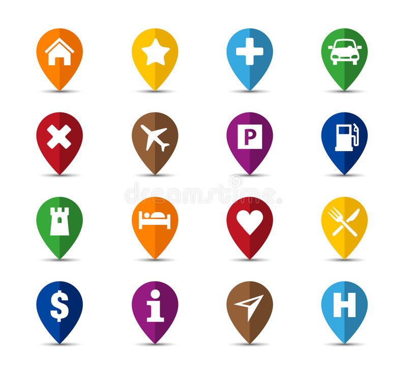 Navigation Icons. Collection of navigation icons - pins for maps or mobile apps vector illustration
