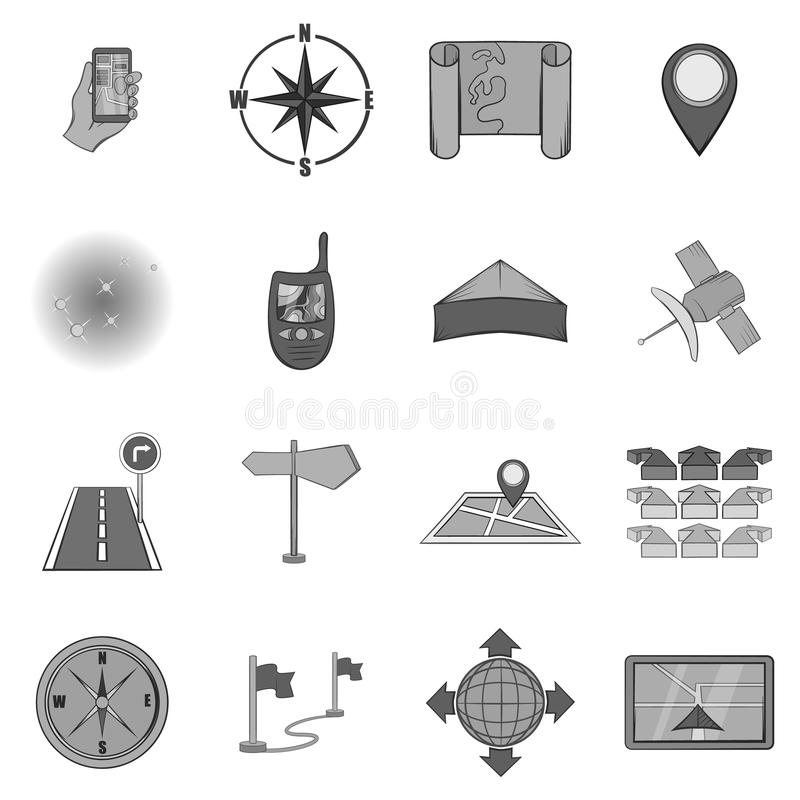 Navigation icons set, black monochrome style. Navigation icons set in black monochrome style. Location on terrain set collection vector illustration royalty free illustration