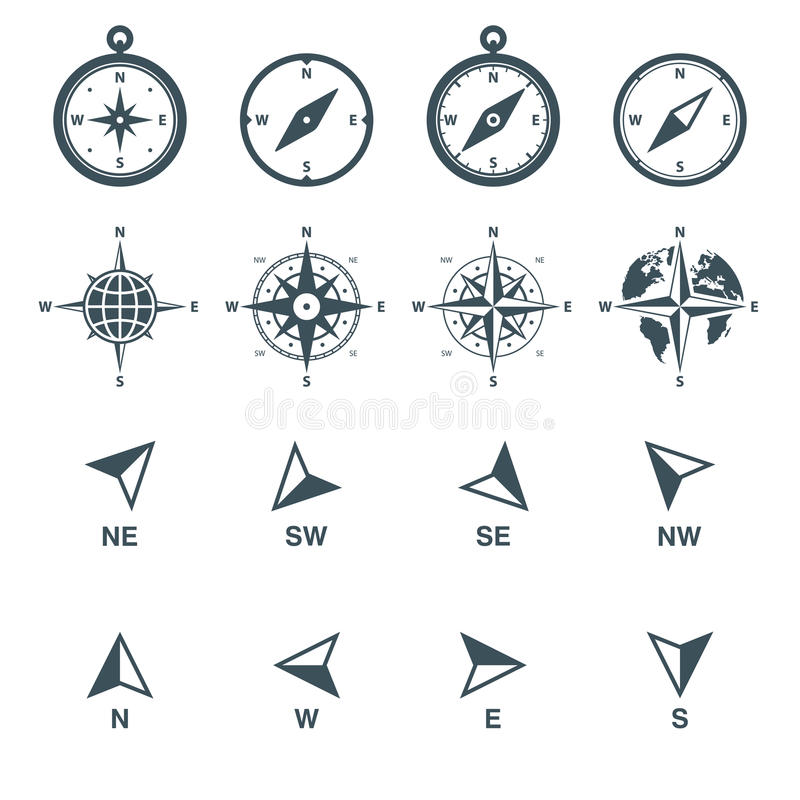 Navigation icons set stock illustration