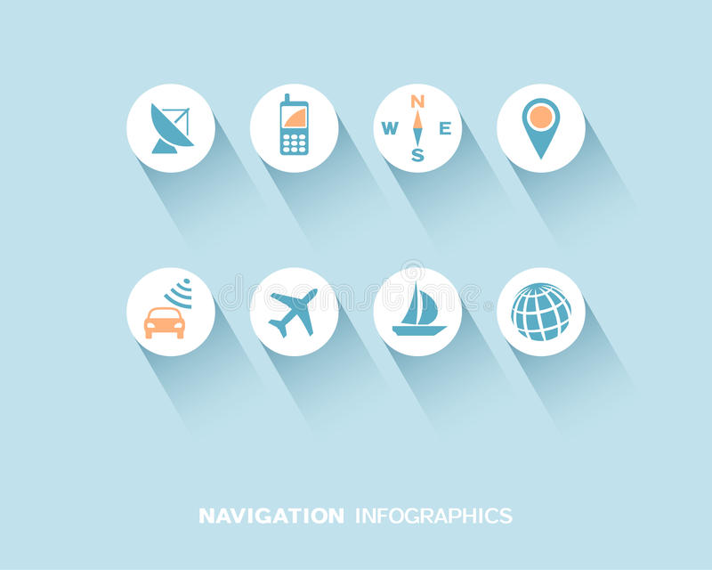 Navigation infographic with flat icons set vector illustration