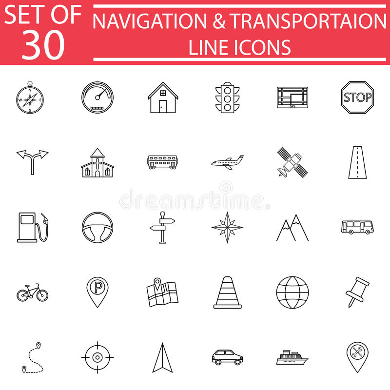Navigation line icon set, Transport signs royalty free illustration