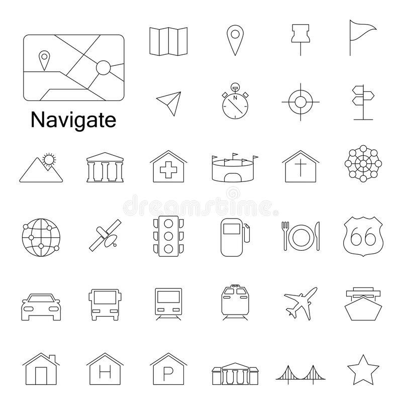 Navigation line icons royalty free illustration