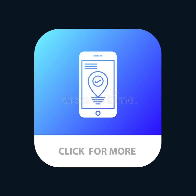 Navigation, Location, Pointer, Smartphone Mobile App Button. Android and IOS Glyph Version stock illustration
