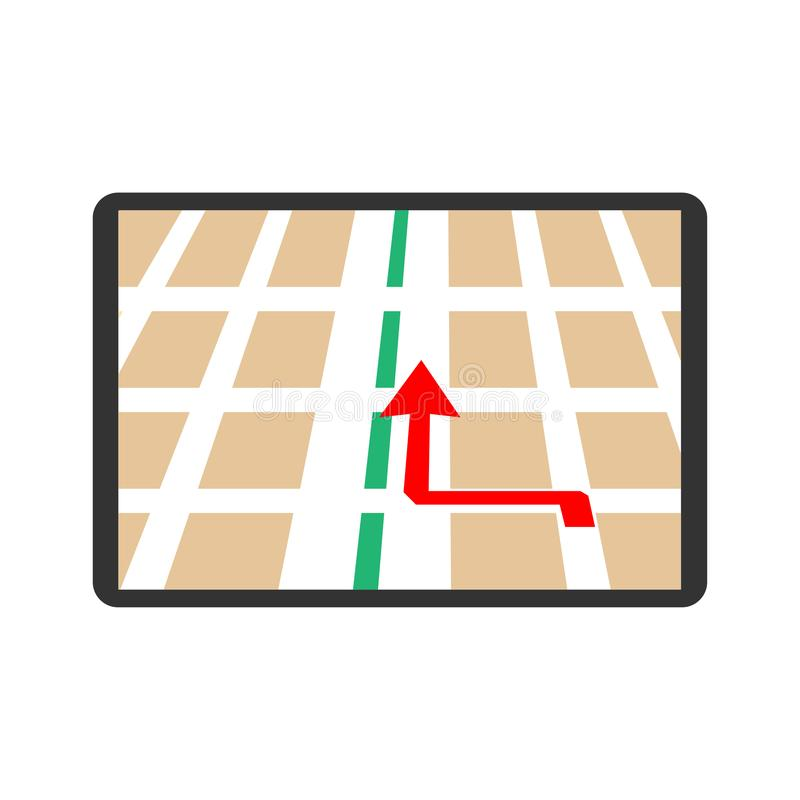 Navigation - Map with arrow.  stock illustration