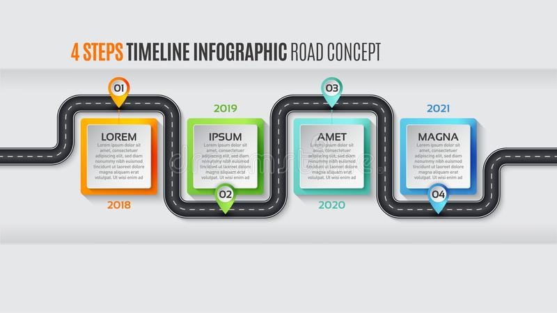 Navigation map infographic 4 steps timeline concept. Vector illustration winding road. Color swatches control stock illustration