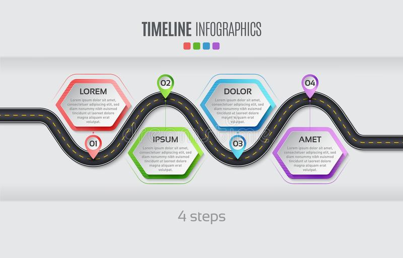 Navigation map infographic 4 steps timeline concept. Vector illu. Stration winding road. Color swatches control vector illustration