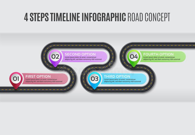 Navigation map infographic 4 steps timeline road concept. Navigation map infographic 4 steps timeline concept. Vector illustration winding road. Color swatches vector illustration