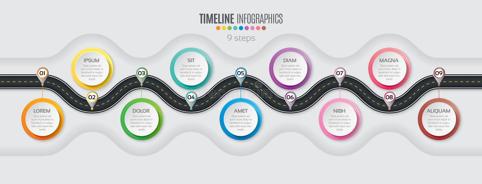 Navigation map infographic 9 steps timeline concept. Winding roa. D. Vector illustration vector illustration