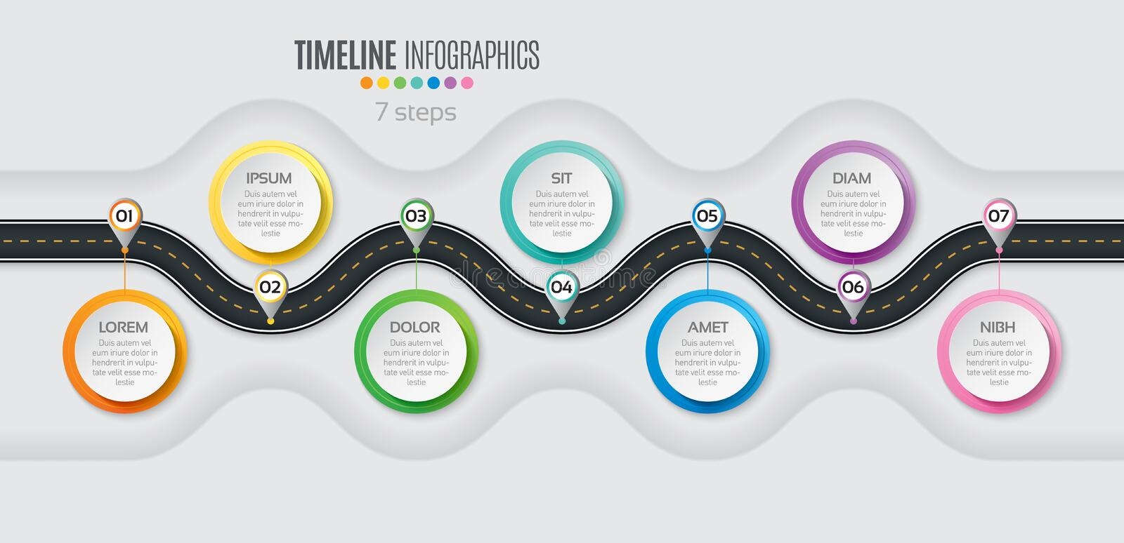 Navigation map infographic 7 steps timeline concept. Winding roa. D. Vector illustration stock illustration
