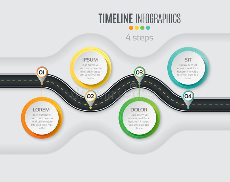 Navigation map infographic 4 steps timeline concept. Winding roa. D. Vector illustration royalty free illustration