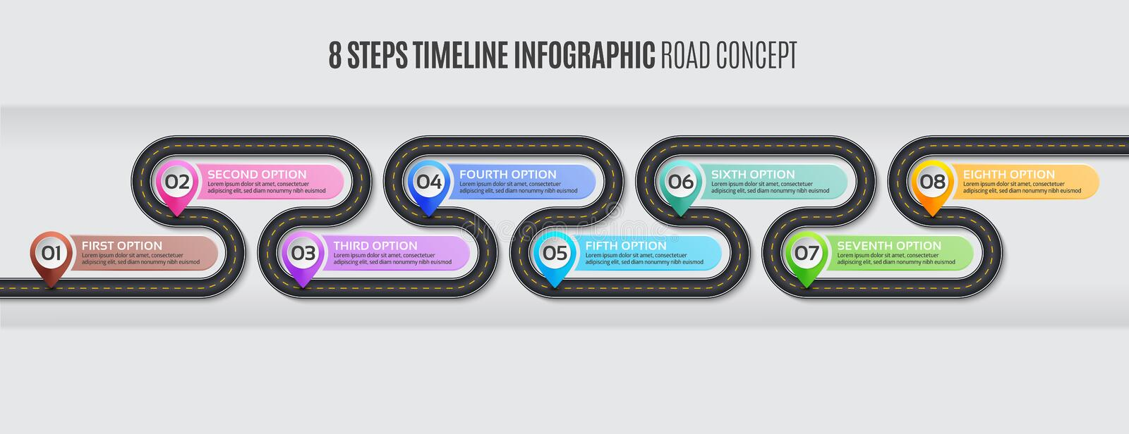 Navigation map infographic 8 steps timeline road concept. Navigation map infographic 8 steps timeline concept. Vector illustration winding road. Color swatches stock illustration