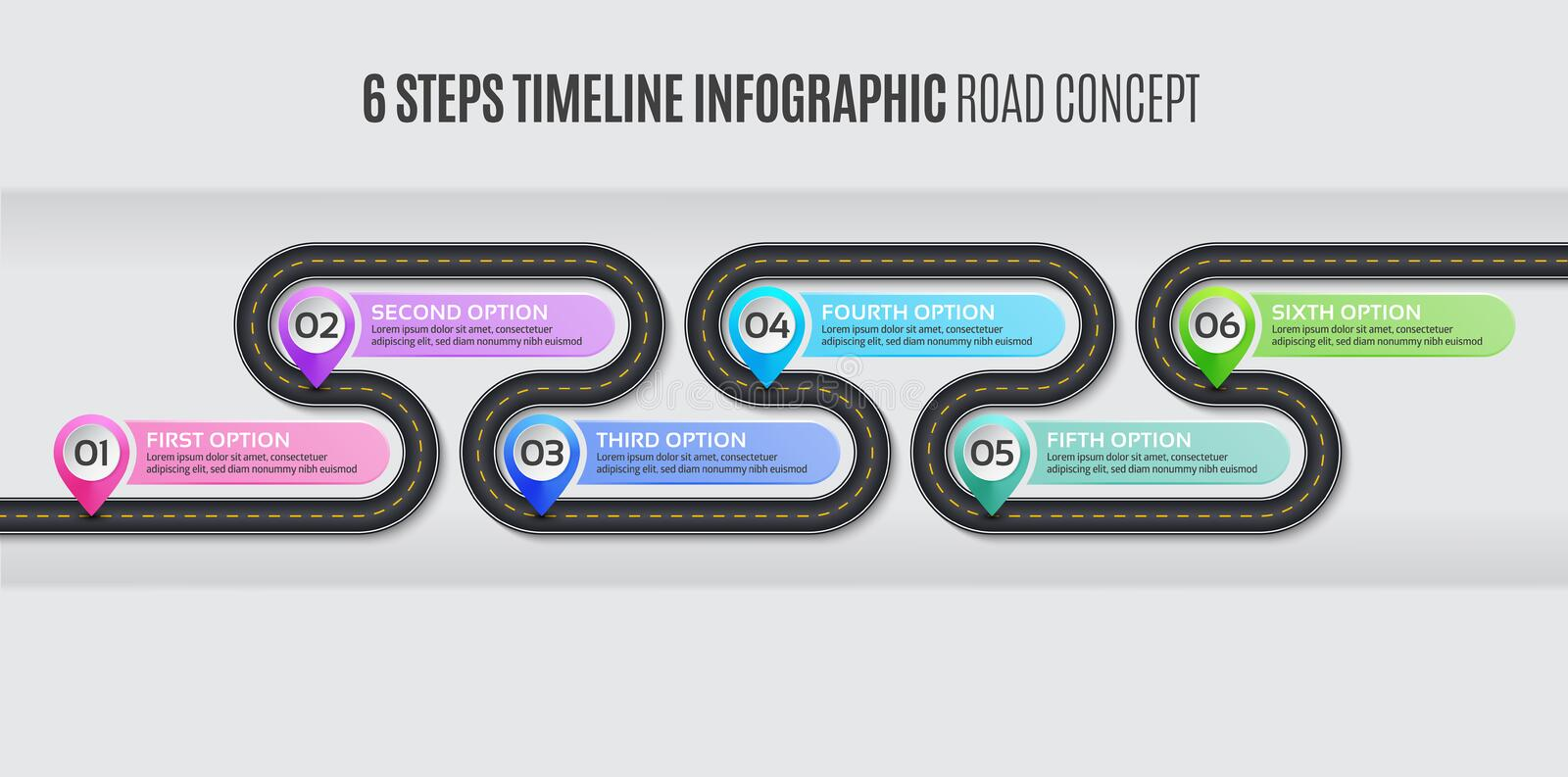Navigation map infographic 6 steps timeline road concept. Navigation map infographic 6 steps timeline concept. Vector illustration winding road. Color swatches stock illustration