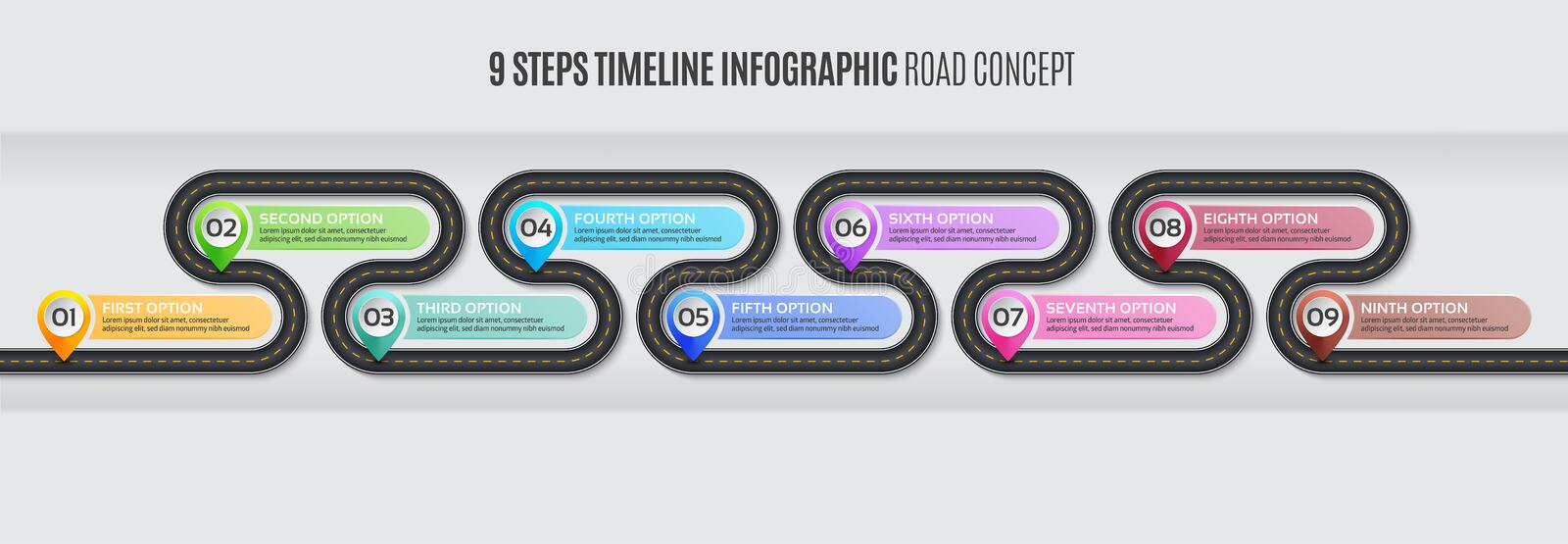 Navigation map infographic 9 steps timeline road concept. Navigation map infographic 9 steps timeline concept. Vector illustration winding road. Color swatches vector illustration