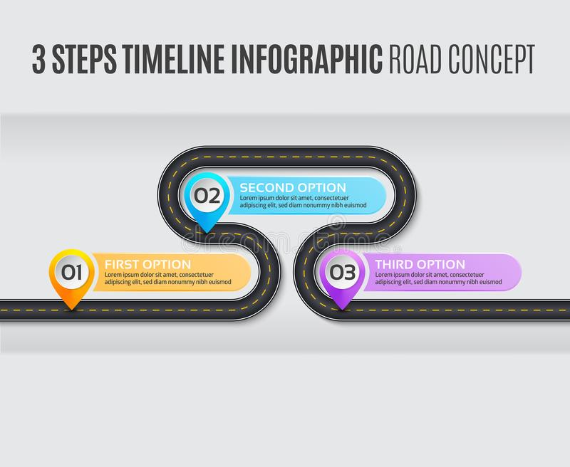 Navigation map infographic 3 steps timeline road concept. Navigation map infographic 3 steps timeline concept. Vector illustration winding road. Color swatches vector illustration