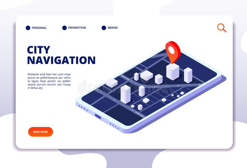 Navigation map isometric concept. Gps location system. Phone tracker with global positioning. Vector landing page. Navigation gps system, city street on mobile royalty free illustration