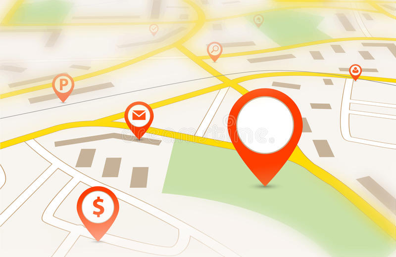 Navigation map. With red empty pin pointer and tilt-shift effect royalty free illustration