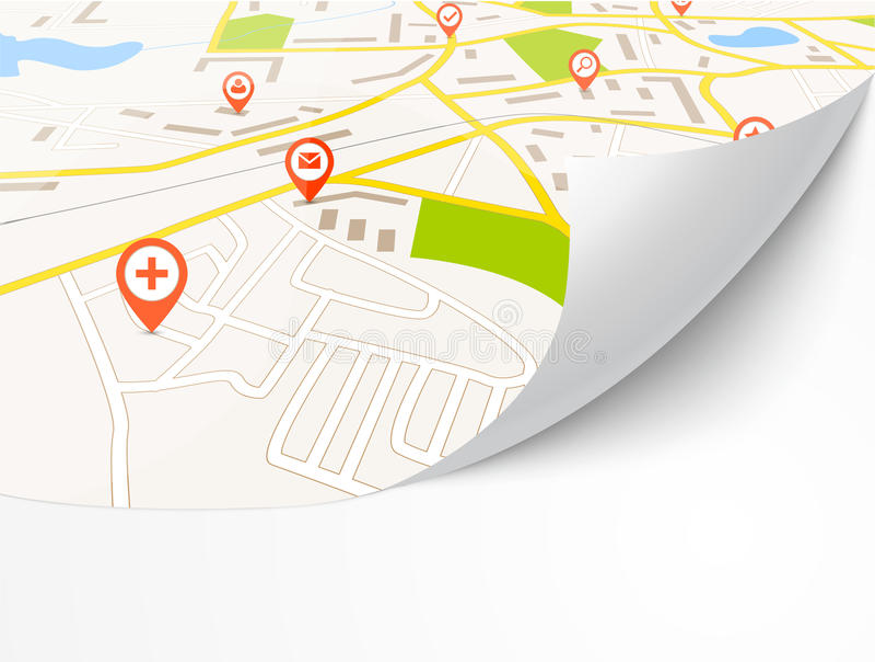 Navigation map stock illustration