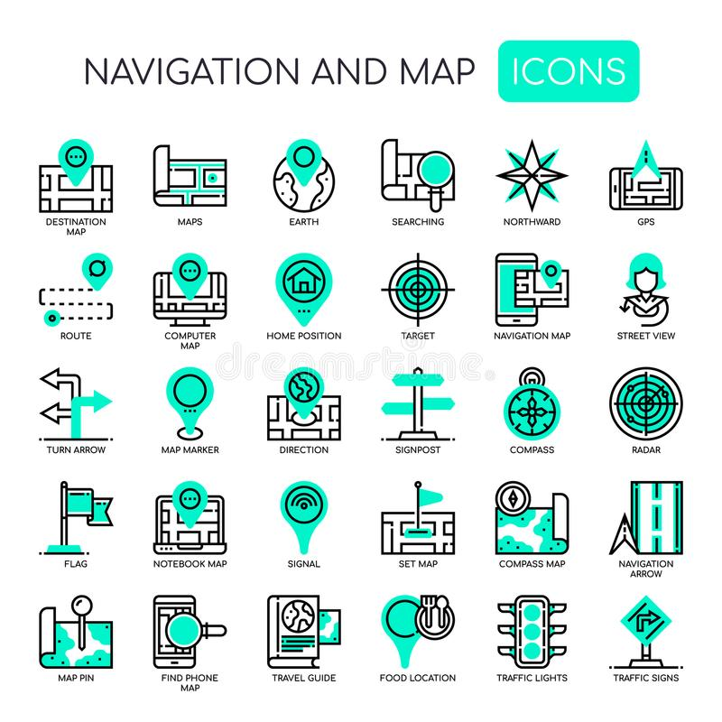Navigation & Map , Pixel Perfect Icons. Navigation & Map , Thin Line and Pixel Perfect Icons stock illustration