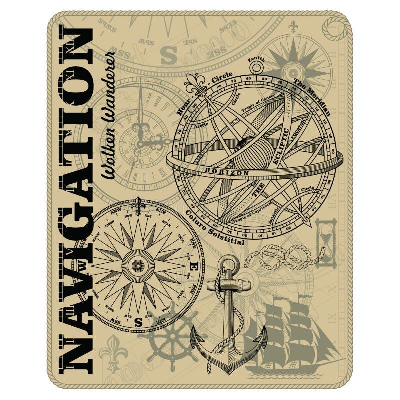Navigation maritime vector design. Nautical design. Navy illustration. Ocean wallpaper. Sailboat, anchor, steering wheel. Marine rope knot, vintage marine stock illustration