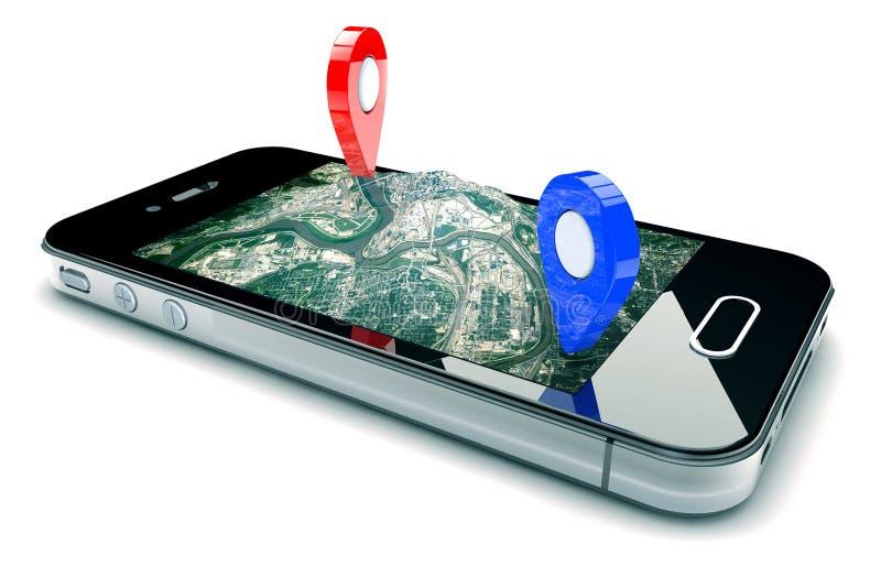 Navigation mobile de GPS photographie stock