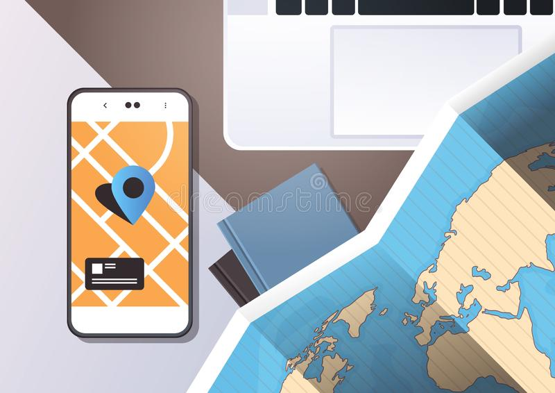 Navigation online application paper world map with gps location mark top angle view workplace desktop with cell. Smartphone laptop office stuff horizontal stock illustration