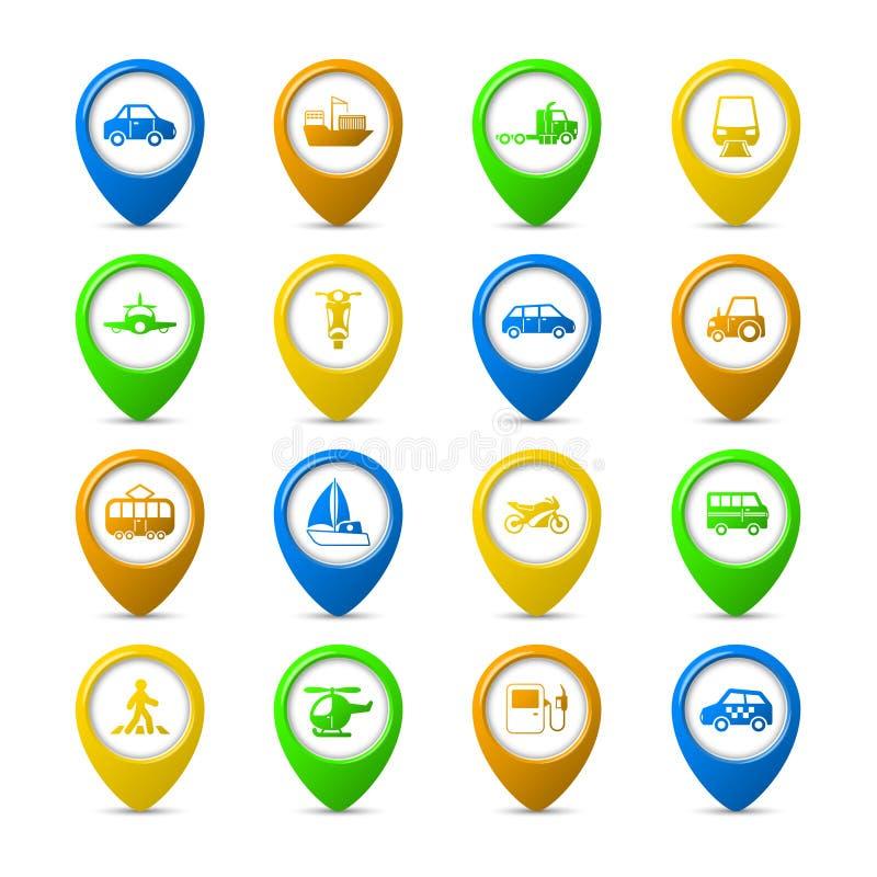 Navigation pins set stock illustration