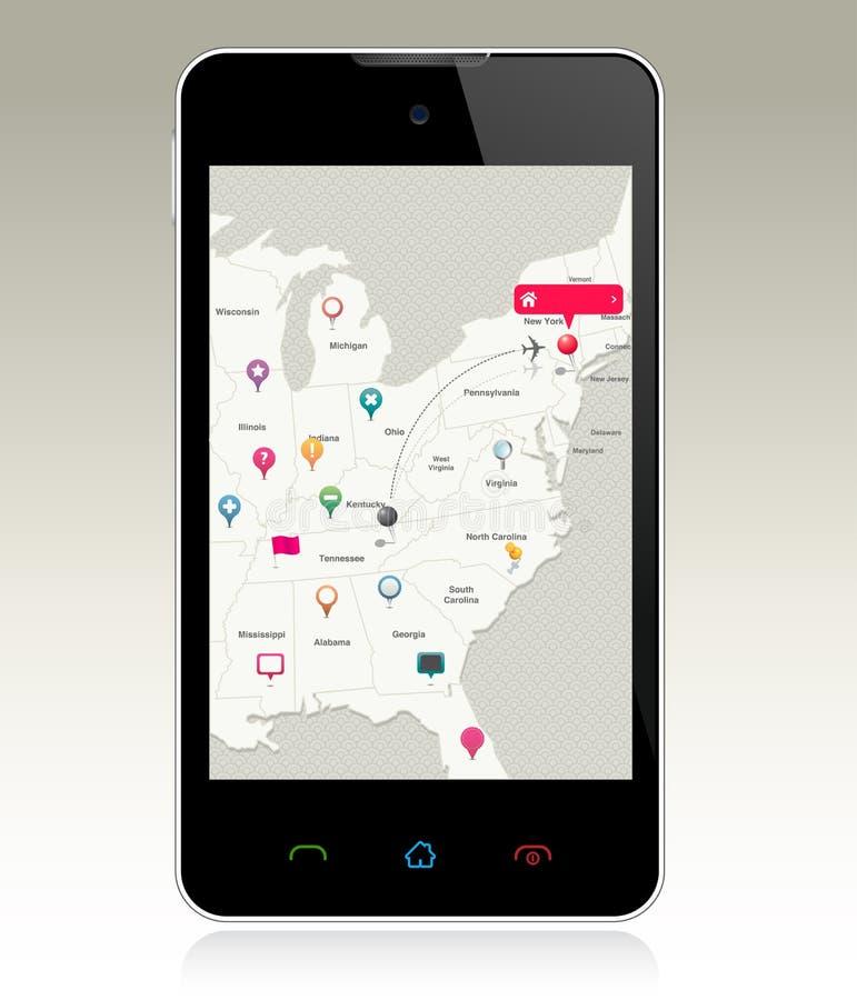 Download Navigation Pins On Smart Phone Stock Vector - Image: 26261269