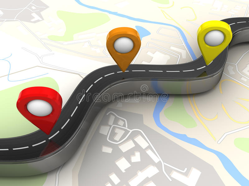 Navigation points. 3d illustration of road and navigation points over map background royalty free illustration
