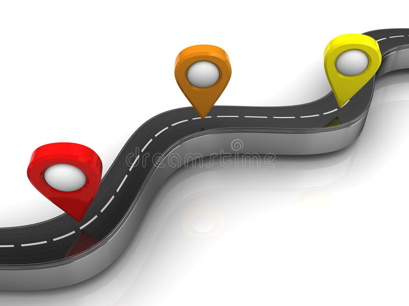 Navigation points. 3d illustration of road and navigation points over white background stock illustration