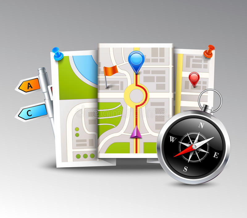 Navigation Realistic Background. With compass map and distance points vector illustration stock illustration
