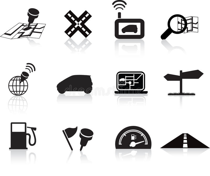 Navigation Road Travel Icon Set Royalty Free Stock Photography