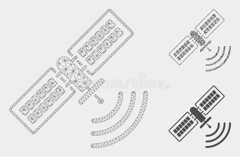 Navigation Satellite Vector Mesh 2D Model and Triangle Mosaic Icon. Mesh navigation satellite model with triangle mosaic icon. Wire frame triangular mesh of royalty free illustration