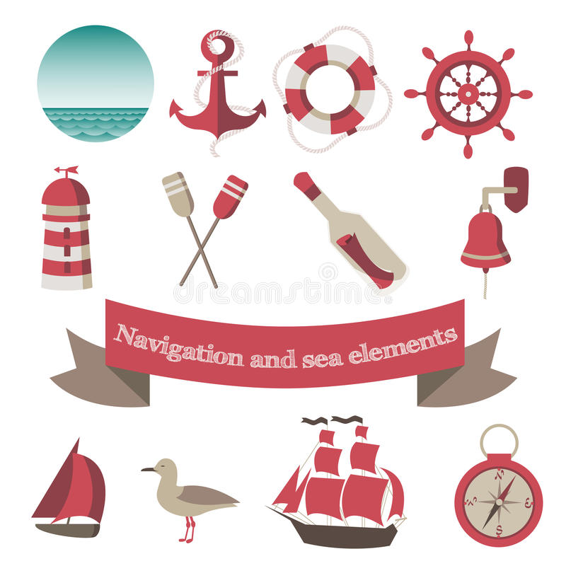 Navigation and sea icons and elements with an anch stock illustration