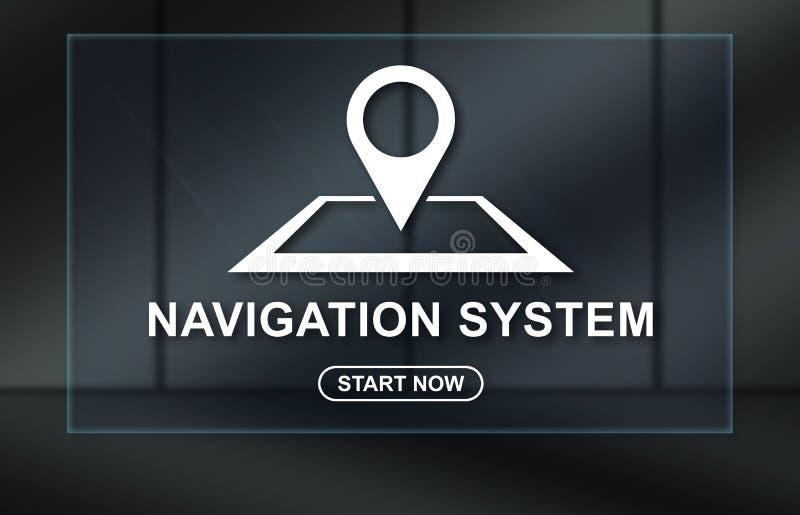 Concept of navigation system. Navigation system concept on dark background stock illustration