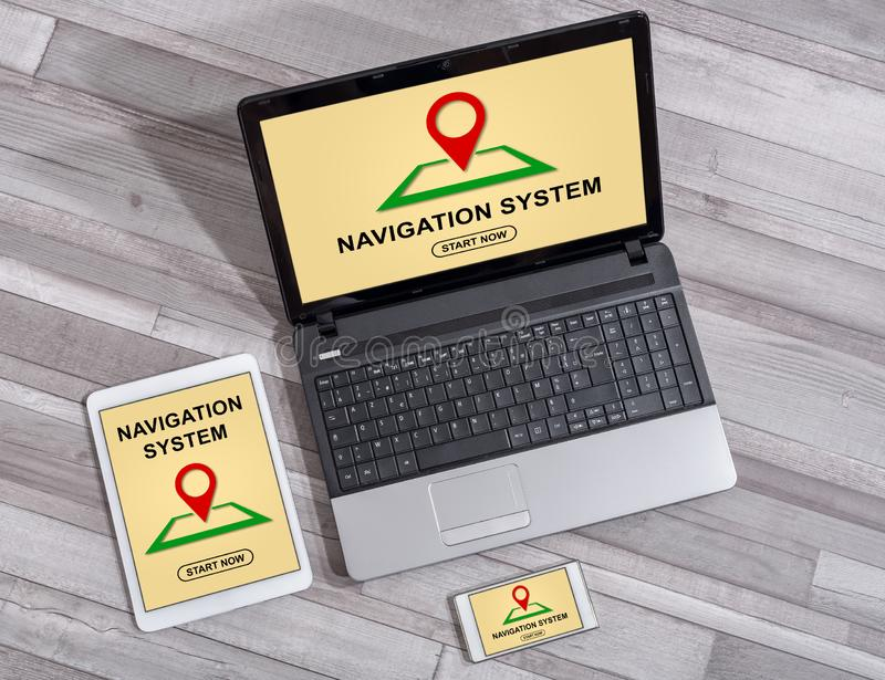 Navigation system concept on different devices. Navigation system concept shown on different information technology devices stock photography