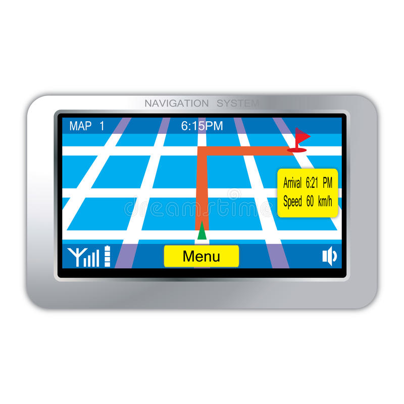 Navigation system device. Isolated over white background royalty free illustration
