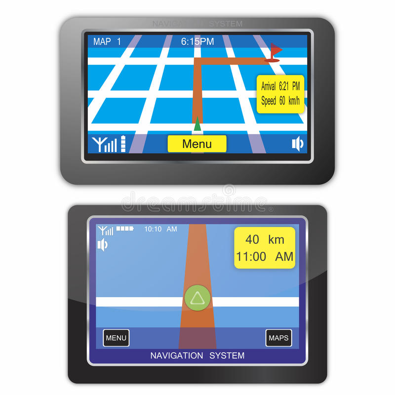 Navigation system devices. Isolated on white background vector illustration