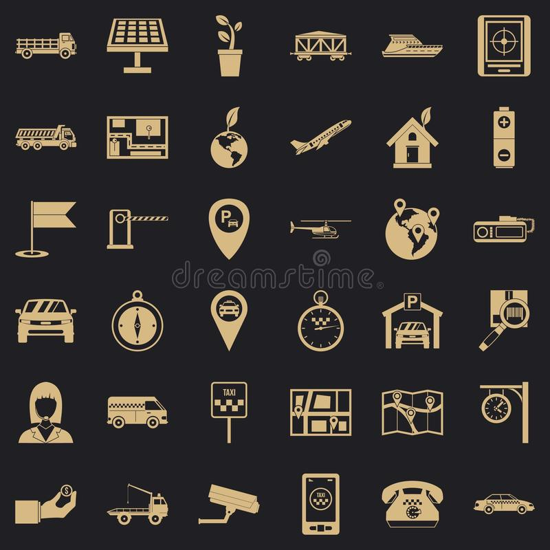 Navigation system icons set, simple style. Navigation system icons set. Simple set of 36 navigation system vector icons for web for any design stock illustration