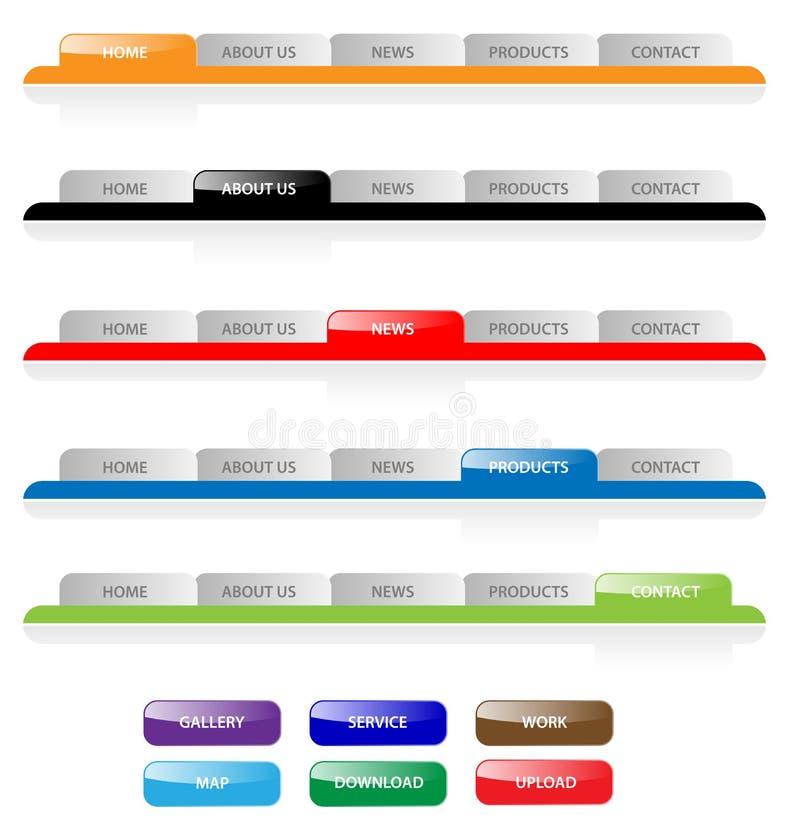 Web navigation tabs buttons, gradient vector template bar menu tab website element ui site design elements button header set home. Set of aqua web 2.0 site royalty free illustration