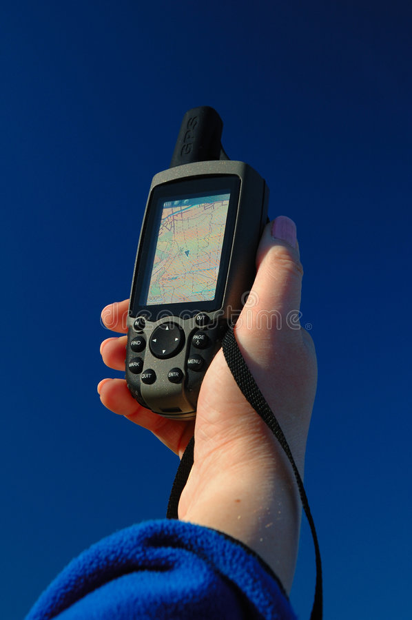 Navigation Unit. Modern navigation with GPS units. Also maps with a map datum are useful stock images