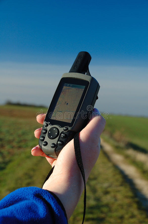 Navigation Unit. Modern navigation with GPS units. Also maps with a map datum are useful royalty free stock image