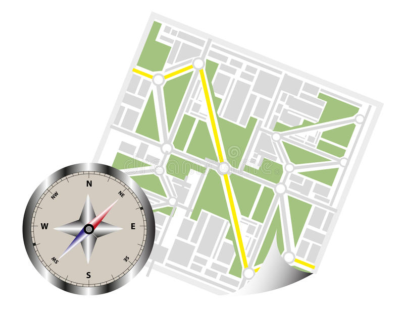 Navigation Map With Compass vector illustration