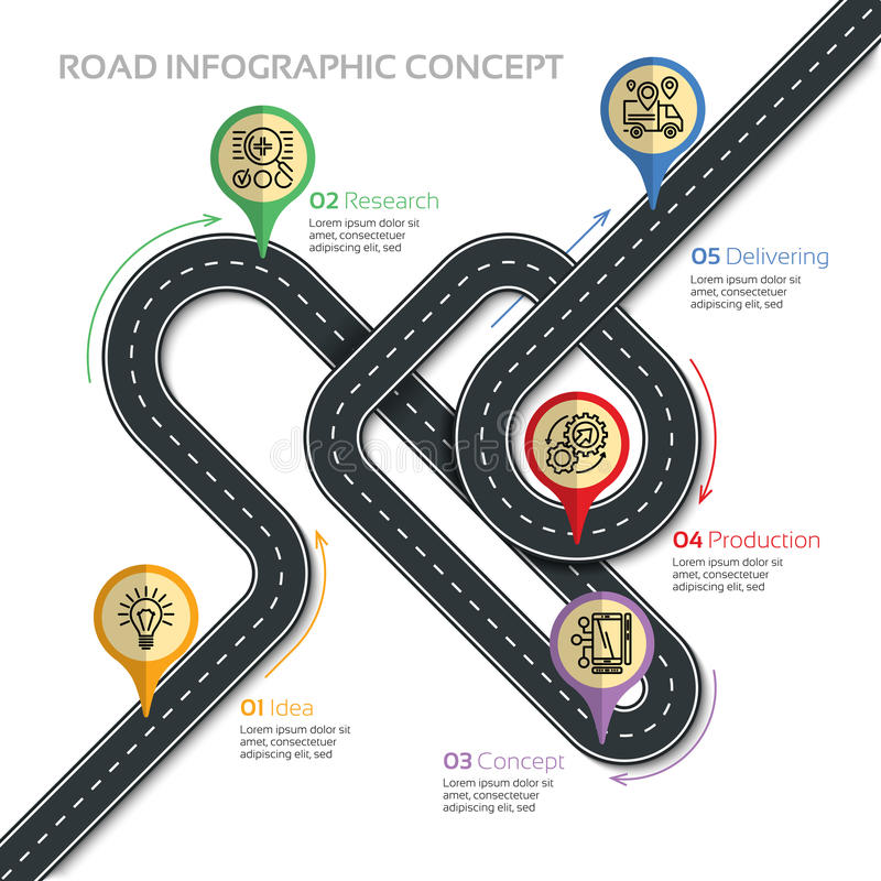 Navigation vector map infographic template. Winding road of prod. Uction process. Vector illustration royalty free illustration