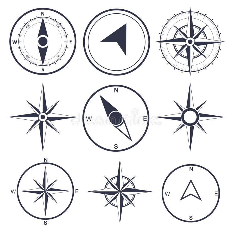 Navigation and wind rose compass set royalty free illustration