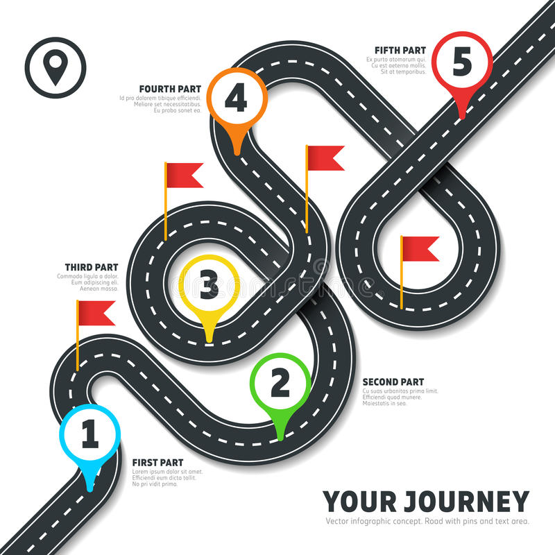 Navigation winding road vector way map infographic. Roadmap business info, plan road map for business illustration royalty free illustration