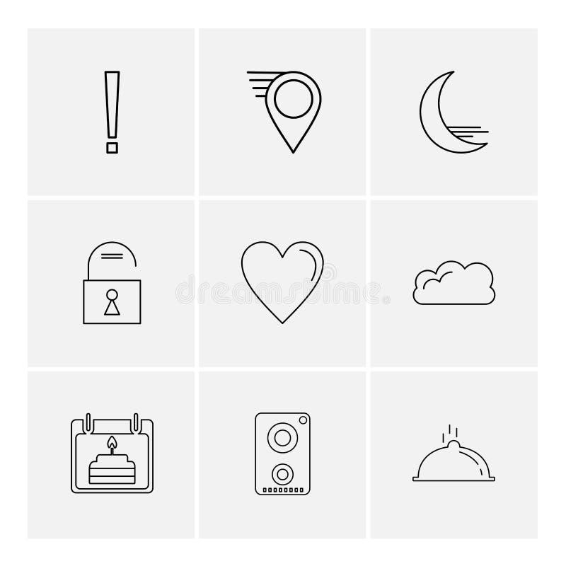 Navigationen, das Herz, crecent, entriegeln, Benutzerschnittstellenikonen, lizenzfreie abbildung