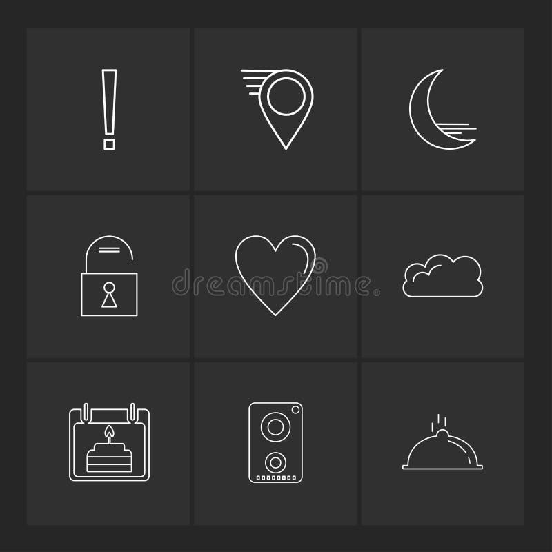 Navigationen, das Herz, crecent, entriegeln, Benutzerschnittstellenikonen, stock abbildung