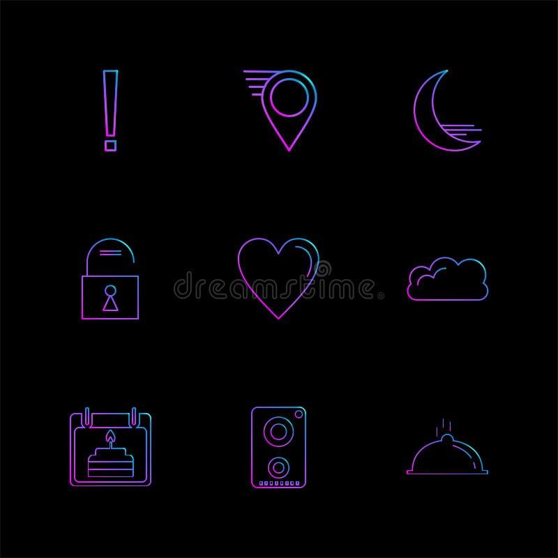 Navigationen, das Herz, crecent, entriegeln, Benutzerschnittstellenikonen lizenzfreie abbildung