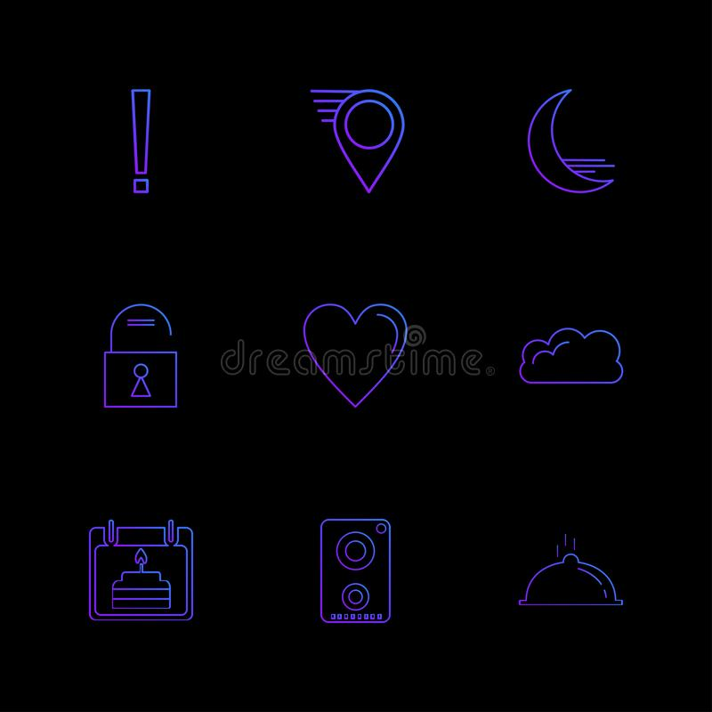 Navigationen, das Herz, crecent, entriegeln, Benutzerschnittstellenikonen vektor abbildung