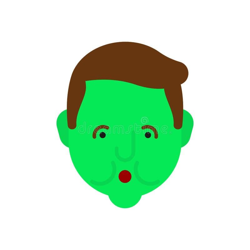 navigationen Grünes Gesicht Metapher von Problemen und von verringerter Gesundheit medizinisches Gesundheitswesenkonzept der Schm stock abbildung